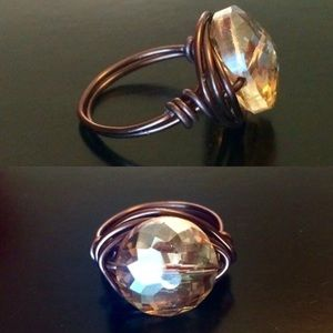 Wrapped wire crystal dome ring bohemian chic